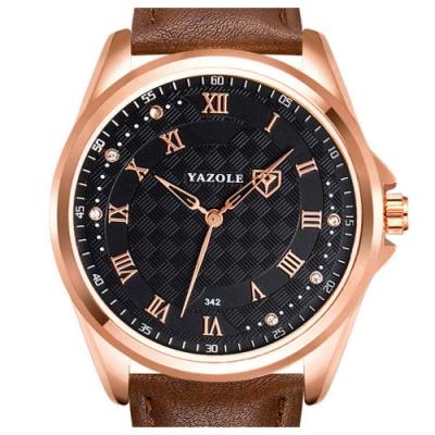 YAZOLE 亞卓倫342-出色男性-商務休閒羅馬時標手錶
