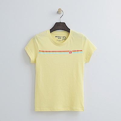 Hang Ten - 女裝 - 有機棉 撞色彩虹條T恤-黃色