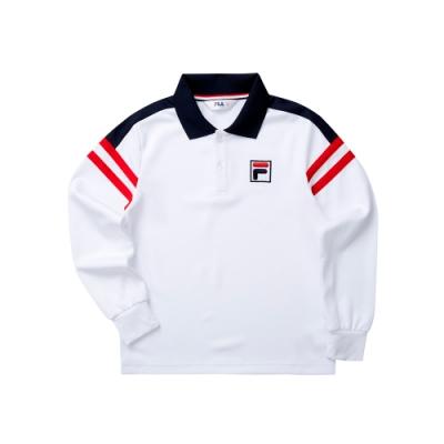 FILA KIDS 童針織POLO衫-白色 1POT-8432-WT