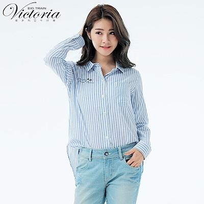 Victoria Boyfriend 風格寬鬆襯衫-女-深藍