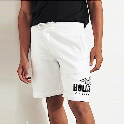 HCO Hollister 海鷗 經典電繡文字運動休閒短棉褲-白色