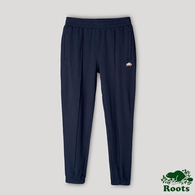 Roots女裝- 摩登週間系列 打褶修身長褲-藍色