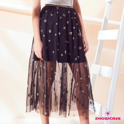 【SHOWCASE】星星亮片網紗透膚七分紗裙(黑/杏)