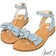 Ann'S水洗牛皮-甜美扭結寬版平底涼鞋-淺藍 product thumbnail 1
