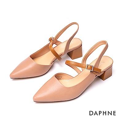 達芙妮DAPHNE 涼鞋-撞色踝帶鑽飾尖頭粗跟涼鞋-粉紅