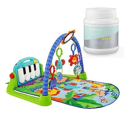 費雪牌 Fisher 可愛動物小鋼琴健身器+媽咪小站-多功能活氧去漬粉 450g