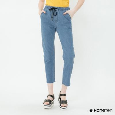 Hang Ten - 女裝 - 綁帶抽繩牛仔八分褲 - 藍