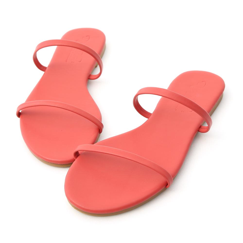 D+AF 清涼夏日.二條細帶平底涼拖鞋*紅