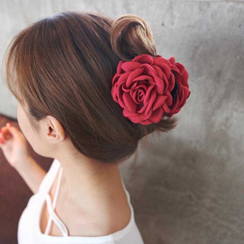 Hera 赫拉 韓版新娘仿真燙邊玫瑰花抓夾-2色