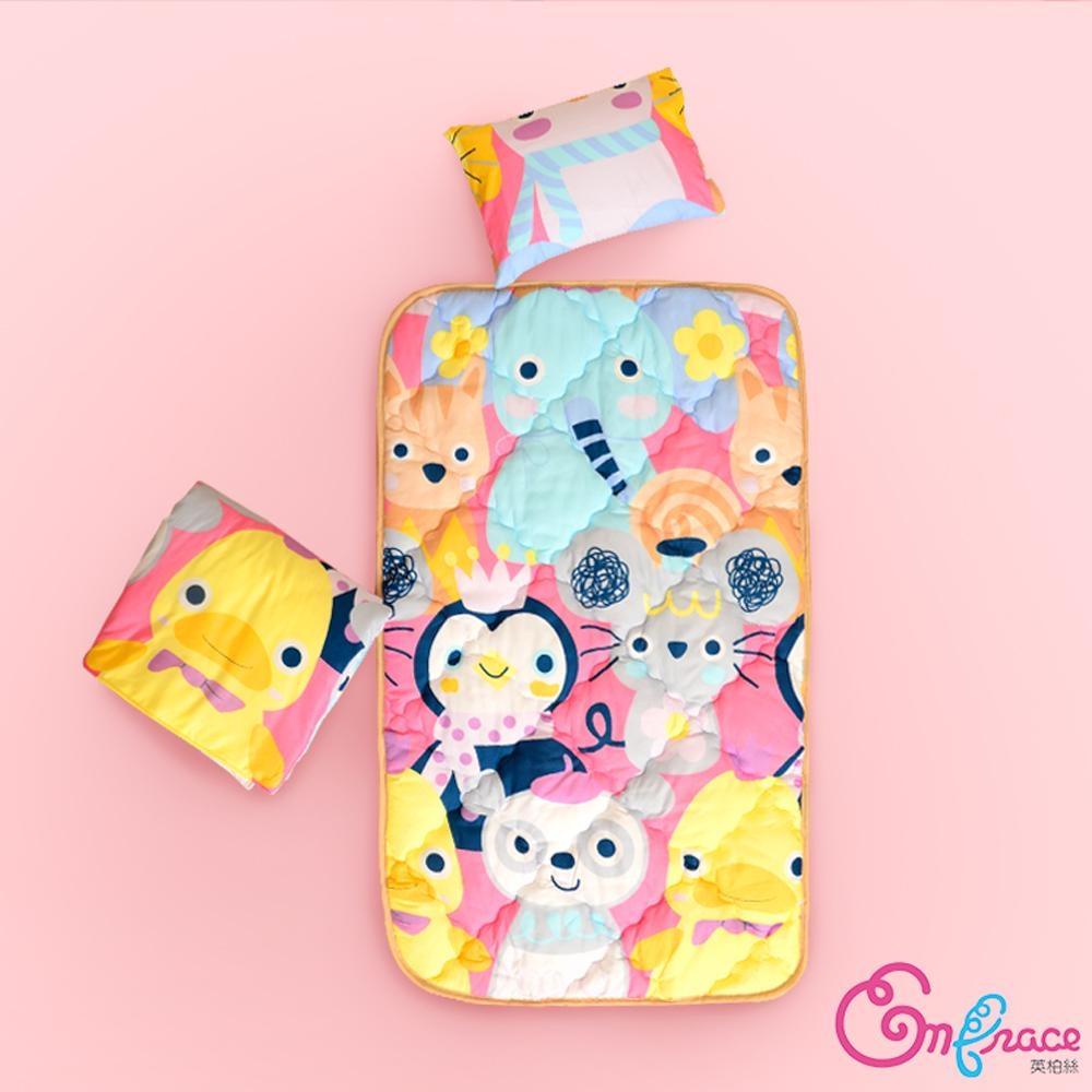 Embrace英柏絲 玩偶派對 蜜桃絨 幼稚園必備兒童三件組 鋪棉床墊+涼被+小枕 台灣製