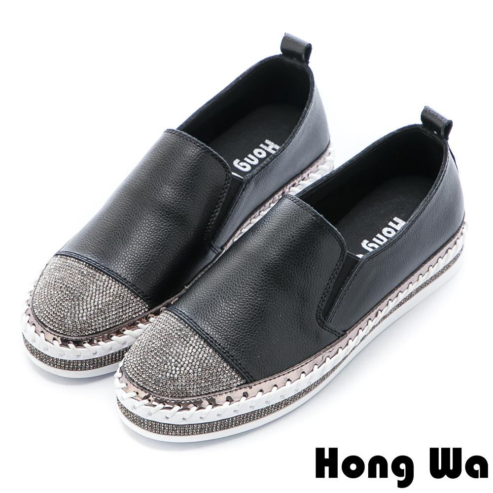 Hong Wa 時尚水鑽貼飾拼接牛皮樂福鞋 - 黑