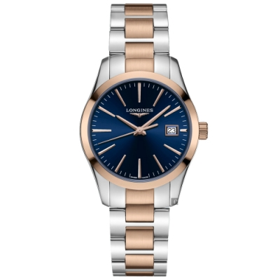 LONGINES 浪琴 Conquest 經典石英女錶-藍x雙色版/34mm(L23863927)
