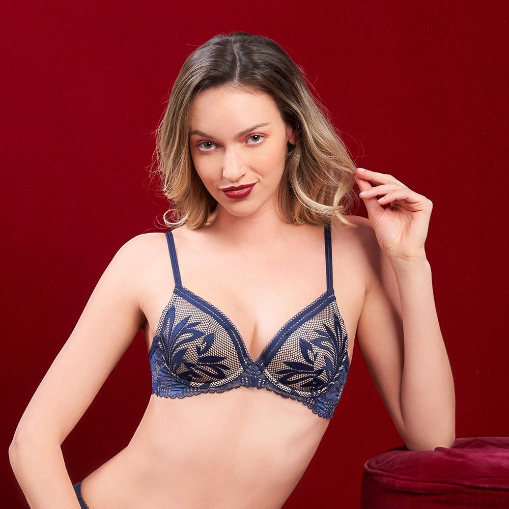 黛安芬-Premium奇幻風情系列 法式托高集中 D罩杯內衣 午夜藍