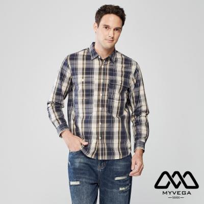 MYVEGA MAN復古格紋口袋長襯衫-藍