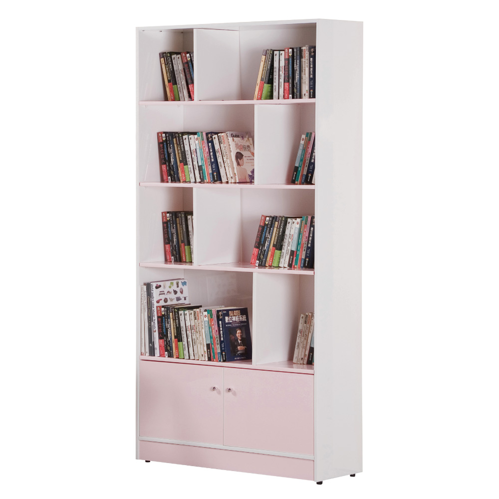 文創集 戴倫環保3尺塑鋼二門開放式書櫃(六色)-90x31x180cm-免組