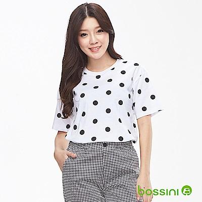 bossini女裝-圓領短袖印花上衣-點點白