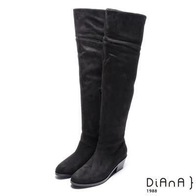 DIANA 絕美潮流–簡單大方流線水鑽粗跟長靴-黑