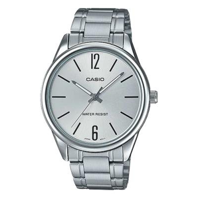 CASIO 簡約紳士潮流指針不鏽鋼錶(MTP-V005D-7B)-白/40mm