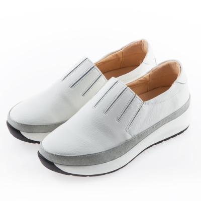 Camille's 韓國空運-正韓製-百摺牛皮懶人內增高厚底休閒鞋-白色