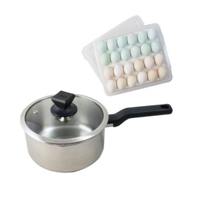 鵝頭牌不鏽鋼日式單把湯鍋20cm CI-2011A 送保鮮蛋盒