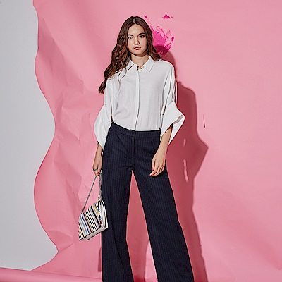 ICHE 衣哲 時尚俐落直條紋明線挺版羊毛直筒長褲-藍