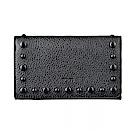 TOD'S經典壓印字母LOGO豆豆設計牛皮8卡扣式中夾(黑)