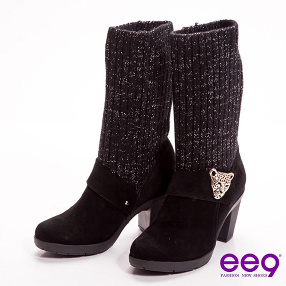 ee9 知性貴族~2way金蔥毛線金屬豹頭飾釦粗跟中筒靴~高尚黑
