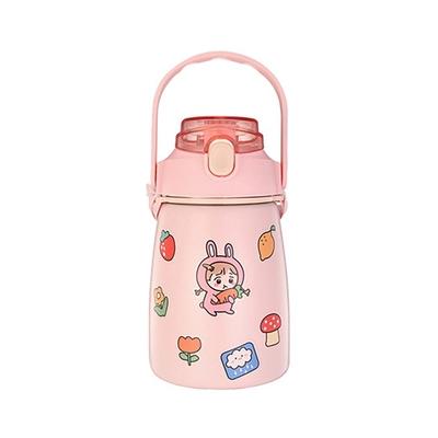 ANTIAN 可愛萌寵大容量兒童保溫杯 304不鏽鋼真空保溫壺 保冷/保溫 DIY貼紙兒童水杯 1000ML