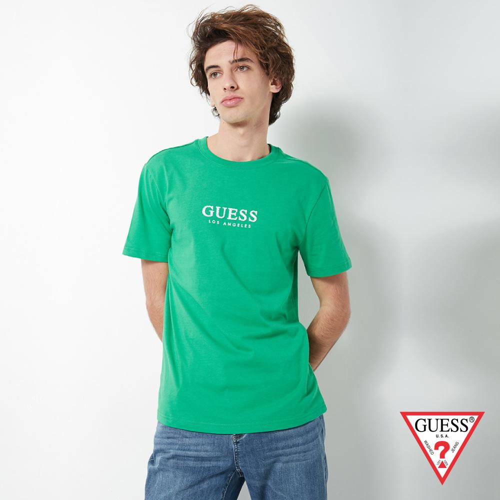 GUESS-男裝-點點印花LOGO經典短T,T恤-綠 原價1390