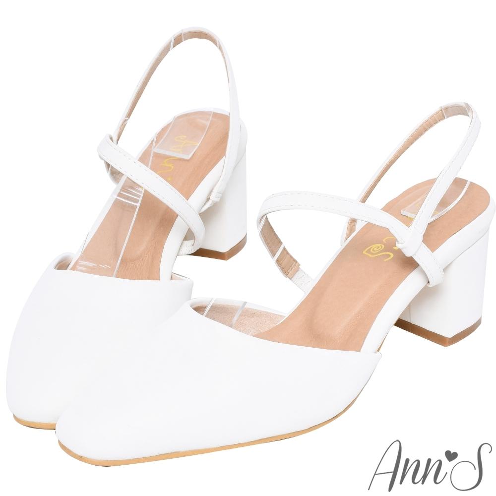 Ann'S霧感柔情-顯瘦腳背斜帶拉帶粗跟方頭跟鞋-白