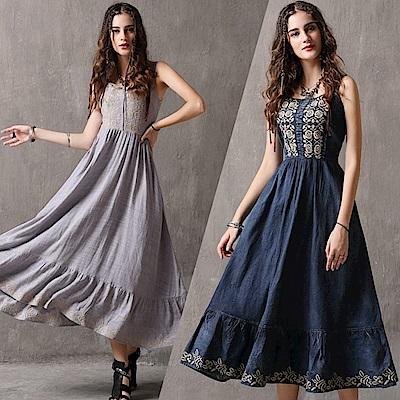 典雅刺繡荷葉裙襬吊帶牛仔連身裙S-L(共二色)-維拉森林