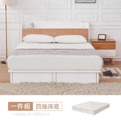 時尚屋 芬蘭5尺抽屜式雙人床底(不含床頭箱-床頭櫃-床墊)
