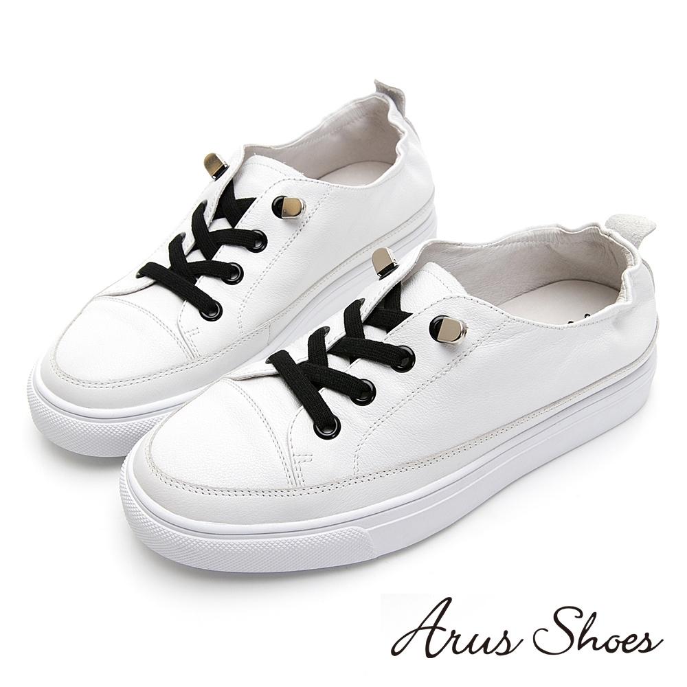 Arus-好搭素色撞色後抓皺懶人厚底休閒鞋-白色