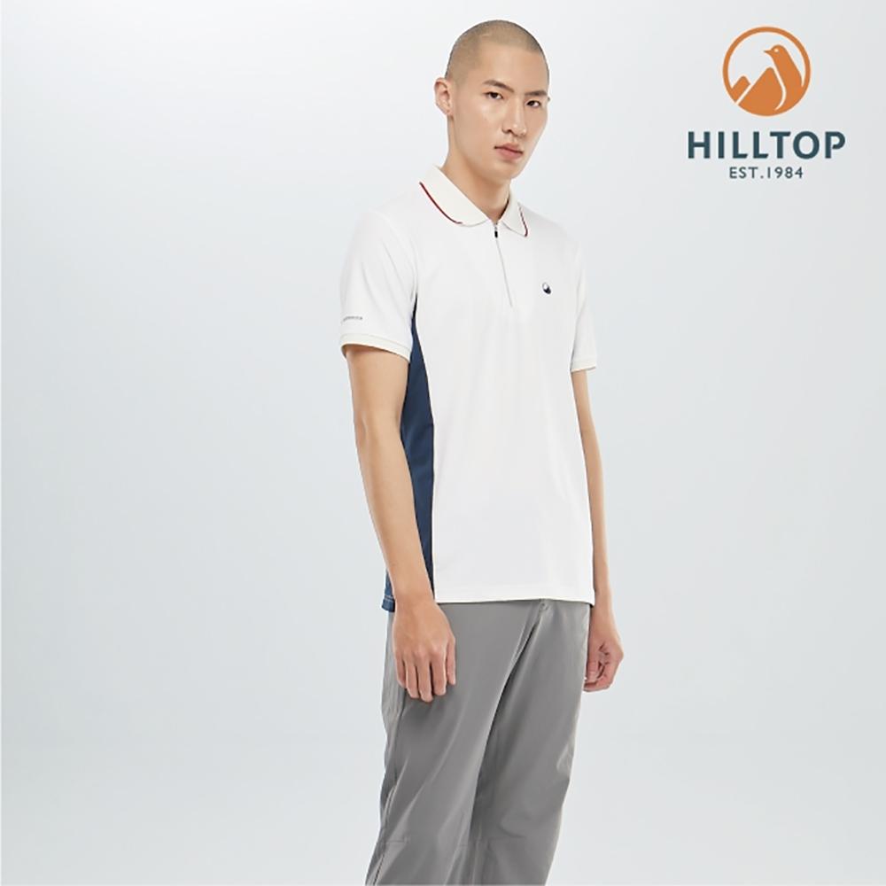 【hilltop山頂鳥】男款吸濕快乾抗菌POLO衫PS14XMH3ECB0雲朵白