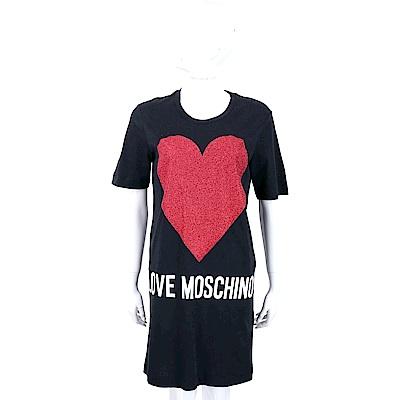 LOVE MOSCHINO 金蔥愛心圖騰黑色連身裙T恤