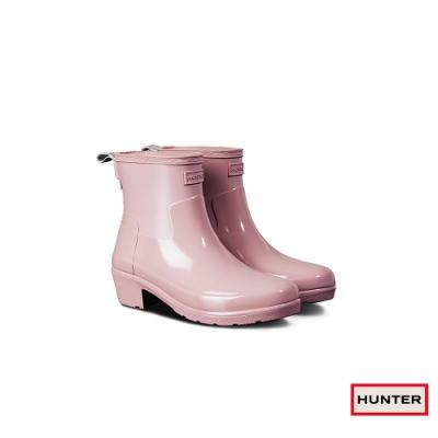 HUNTER - 女鞋 - Refined低跟拼接亮面踝靴 - 粉紅