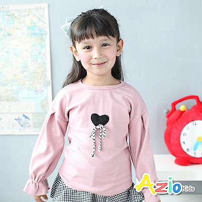 Azio Kids 上衣 立體蝴蝶結愛心縮袖口上衣(豆粉)