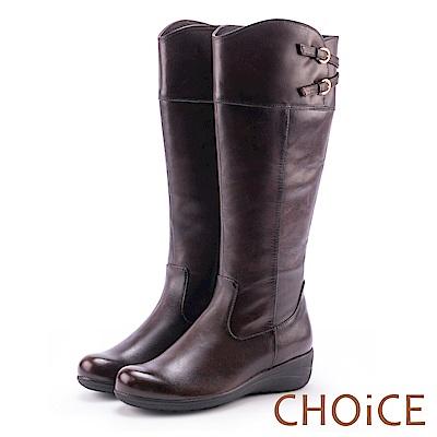 CHOiCE 復古潮流再現 造型皮帶騎士平底長靴-咖啡