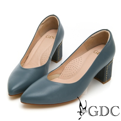 GDC-莫藍迪色系尖頭V型上班優雅素面粗跟鞋-藍色