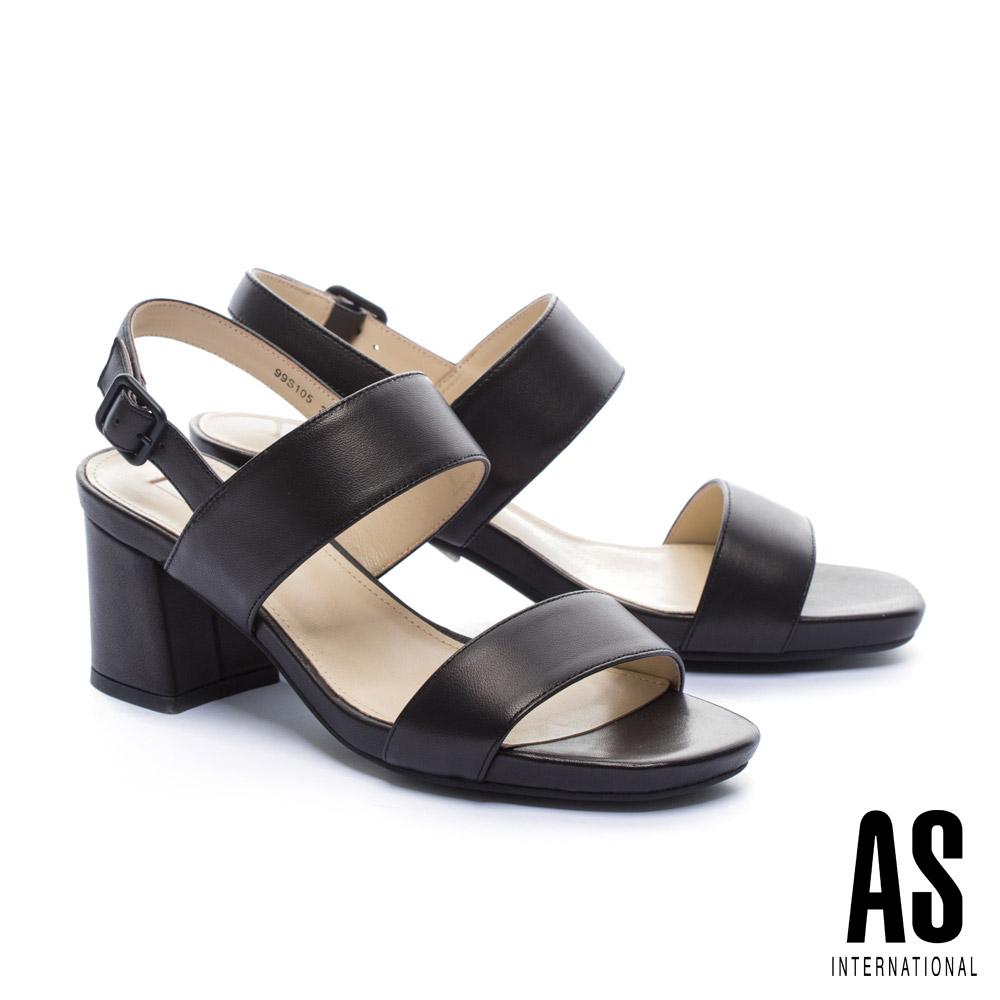 涼鞋 AS 簡約主義寬版繫帶造型全羊皮高跟涼鞋-黑
