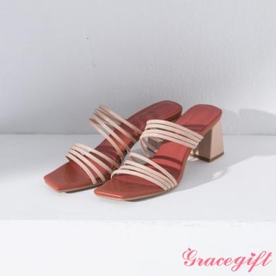 Grace gift X Ann-聯名細帶斜方頭中跟涼鞋 杏