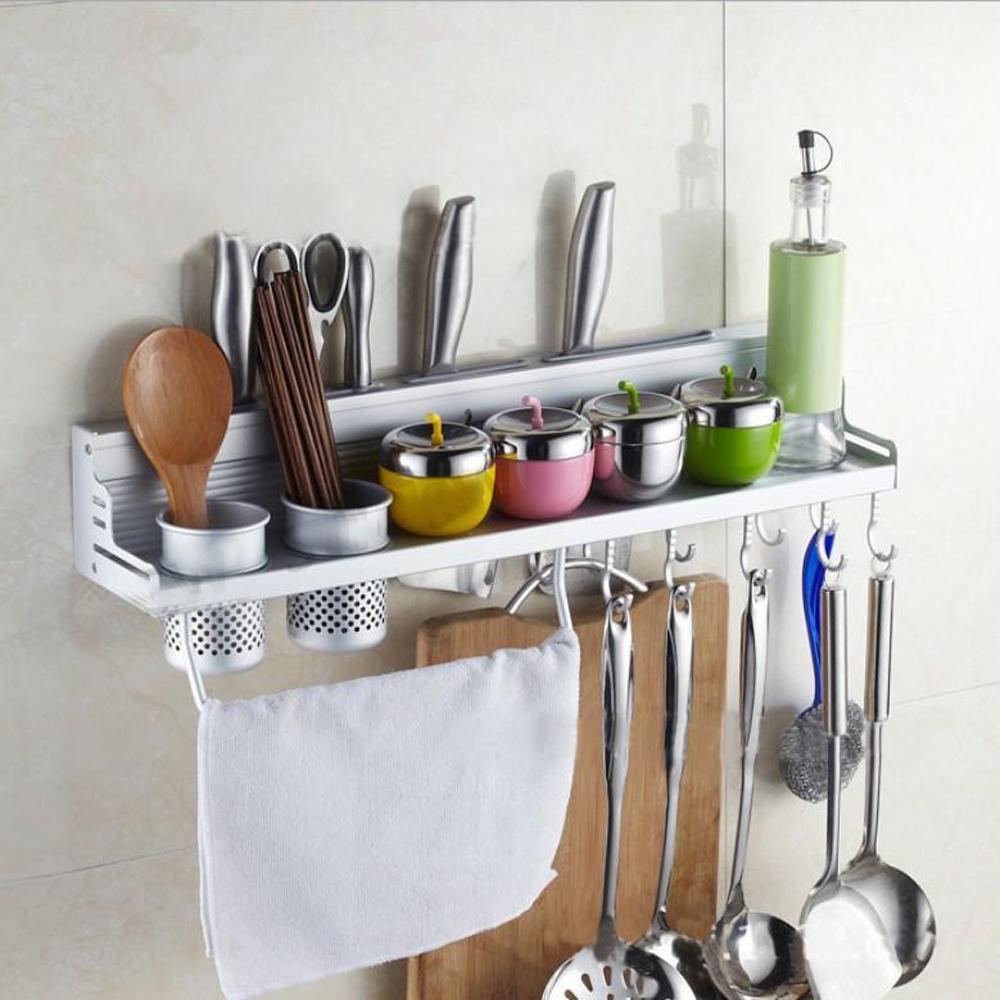 AA025 太空鋁60CM雙杯調味架活動掛鉤 廚房置物架 調味品收納架 刀架餐具架 掛架