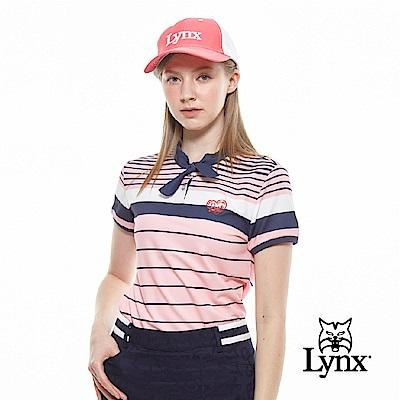 【Lynx Golf】女款吸濕排汗合身版綁帶領配色橫條印花短袖POLO衫-粉色