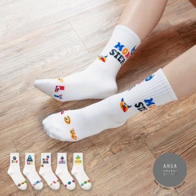 阿華有事嗎  韓國襪子  外星小怪物中筒襪  韓妞必備 正韓百搭純棉襪