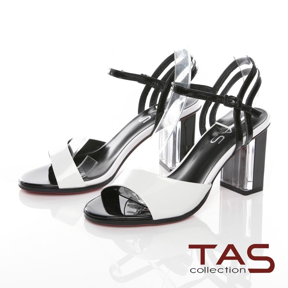 TAS素面牛漆皮繞踝繫帶水晶高跟涼鞋-時尚米
