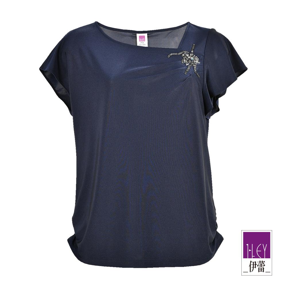 ILEY伊蕾 簡約優雅縫飾上衣(藍)