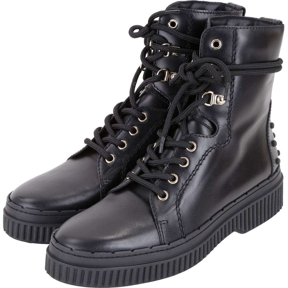 TOD'S 豆豆裝飾繫帶牛皮平底短軍靴(女款/黑色)