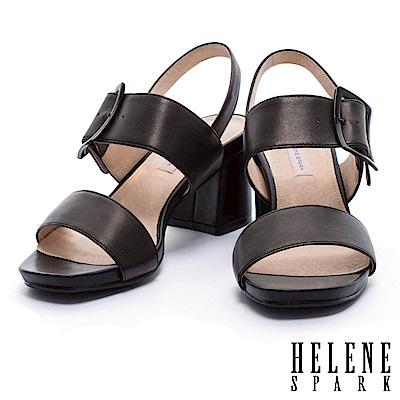 涼鞋 HELENE SPARK 簡約主義經典不敗寬繫帶羊皮粗高跟涼鞋-黑