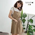 東京著衣 日系純棉細肩帶綁帶洋裝-S.M.L(共兩色)