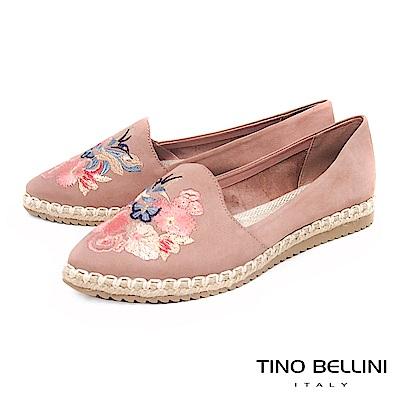 Tino Bellini 巴西進口花鳥蝶舞電繡麻編休閒鞋 _ 粉